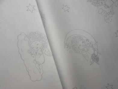 """Комплект круглый из сатина люкс с рисунком """"ангелы"""""""