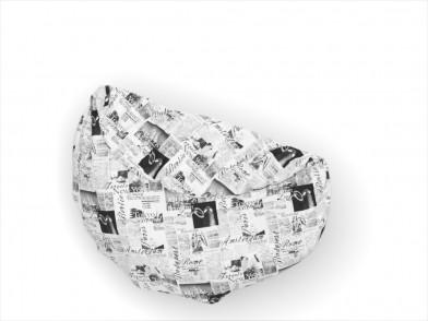 """Пододеяльник круглый из сатина с рисунком """"газета на белом"""""""