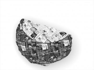 """Пододеяльник круглый из сатина с рисунком """"газета на белом и на черном"""""""