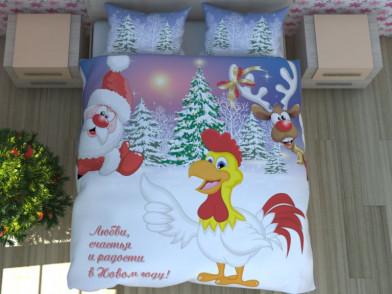 """Комплект постельного белья """"Петух, олень и Дед Мороз"""""""