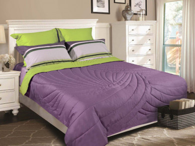 Одеяло-покрывало двустороннее c художественной стежкой шелк в сатине Silk
